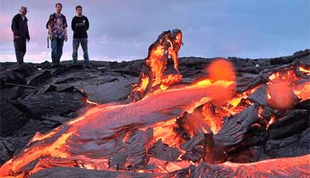 Guests view red hot lava