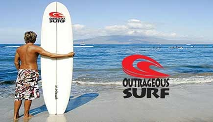 outrageous surf lessons in maui
