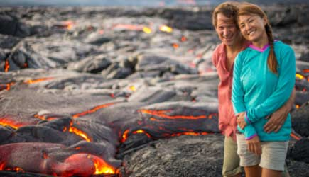 Portrait of Kevin and Ayumi Ditamore with Lava